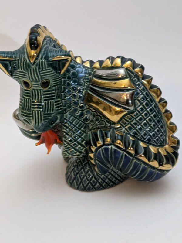 Artesania Rinconada De Rosa Green Fire Breathing Dragon Figurine Collectible Vtg