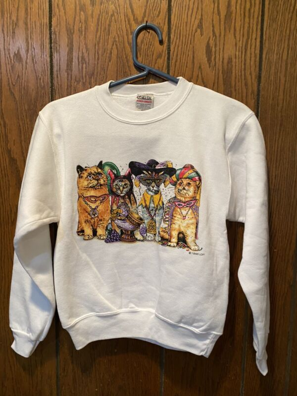 VTG DEADSTOCK YOUTH ONEITA T-SHIRT LOFT CAT MASQUERADE CREW NECK SWEATSHIRT MEDI