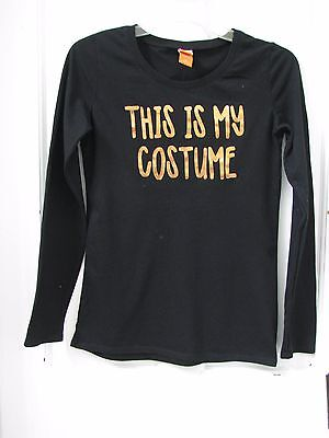This Is My Costume Halloween Long Sleeve T-Shirt Knit Top Women's SZ S Black