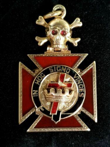 Antique 14k Gold Gemstones Skull Crossbones Knights Templar Masonic Fob Pendant