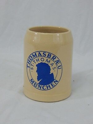 German Stoneware Beer Stein .5L Thomasbraeu Munchen St Thomas West Germany ML