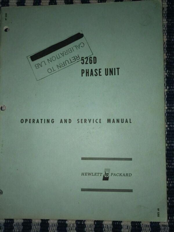 Hewlett Packard Model 526D Operation And Maintenance Manual