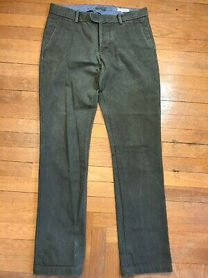 Gustin Slim Fit Washed Green Heavy Cotton Canvas Duck Cloth Made In USA Pants 33