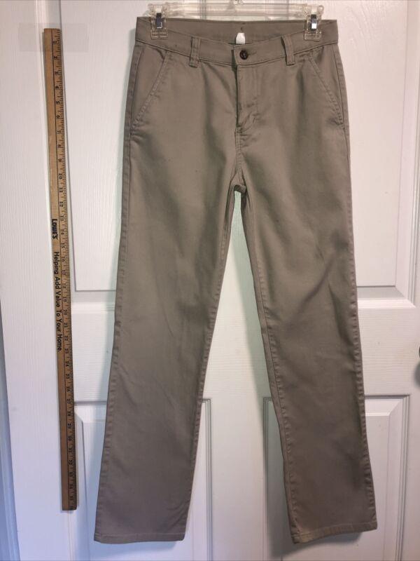 Boys CHAPS Size 14 Regular School Wear Uniform Khaki Pants Slacks Dress