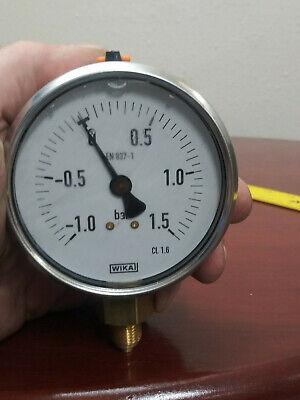 Wika En 837-1 3 Stainless Liquid Filled Gauge -1-1.5 Bar 14 Npt Steampunk