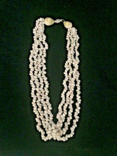 "Vintage Hawaiian Ivory Shell 4 Strand Elegant Necklace. 17"""