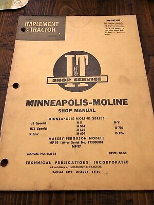 Minneapolis Moline Tractor Shop Manualub Special M5 G 706 M604 5 Star