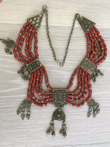 Vintage Coral and Silver Necklace, Yemen