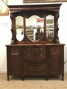 Antique Victorian Mahogany Carved Sideboard Buffet Cabinet Dresser Queenstown Port Adelaide Area Preview