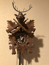 Germany Wooden Cuckoo Clock- Deer Battery Operated Works!