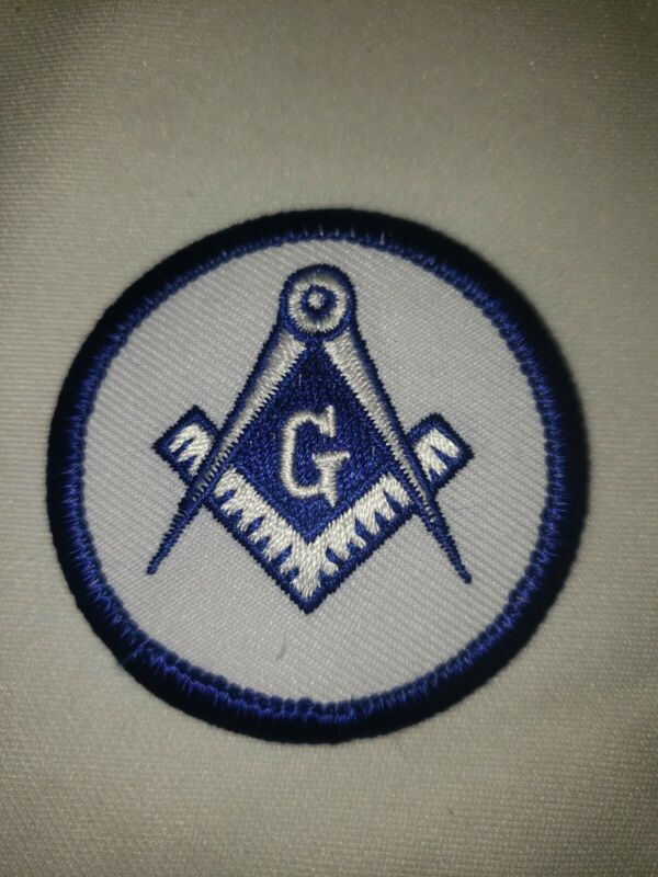 """Square & Compass Round Embroidered Masonic Patch  White & Blue  2 """" Diameter"""
