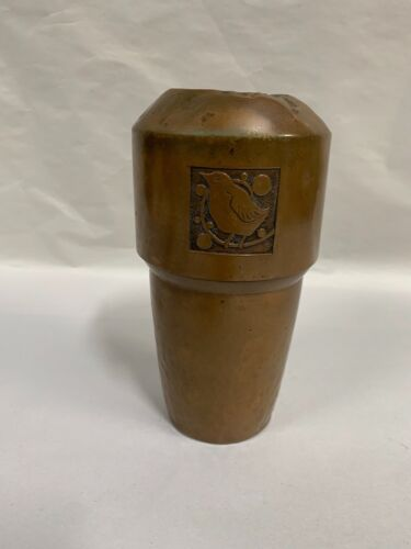 Vintage Arts and Crafts Mission Style Hammered Copper Vase (A25)