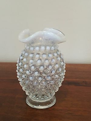 Vintage Fenton Hobnail Triangle Crimped French White Opalescent Vase 4""