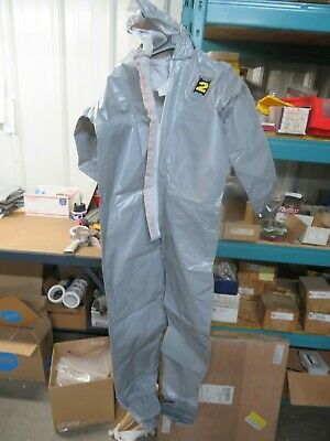 Kappler Gray Chemical Hazmat Suit System Cpf2 Large Elastic Hood Ankles Wrists