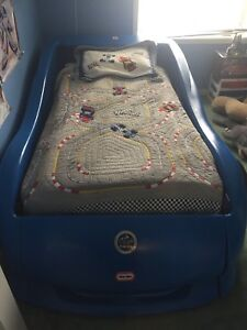 Single car bed with mattress and box spring