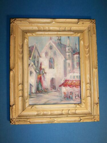 Antique Carved Wood Gold Gilded Overpainted Picture Frame Impressionist Painting