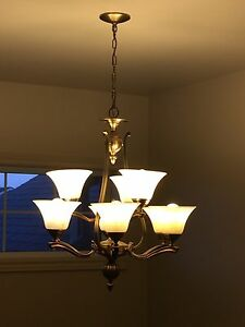 Foyer chandelier and dining room light