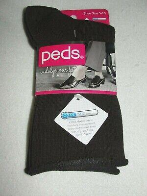 Women's Peds Roll Top Casual Brown Crew Socks - 2 Pair - Sho