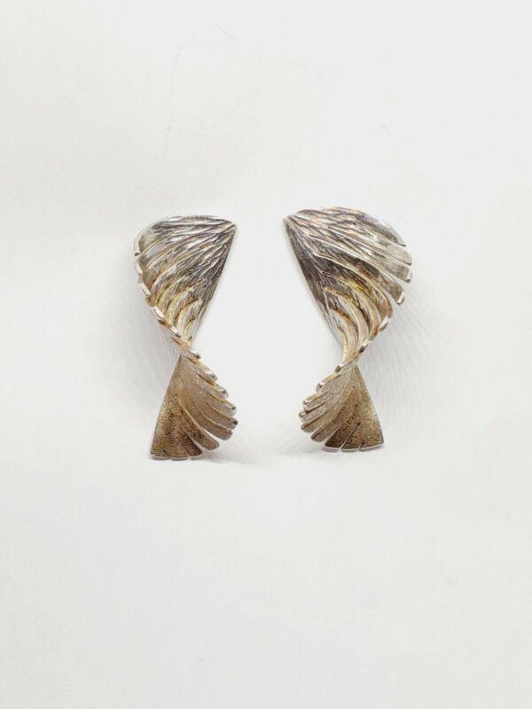 Vintage Modernist PATRICIA DAUNIS Sterling Silver 14k Post Earrings (24)