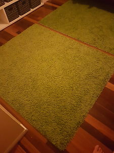2 x green shagg pile carpet rugs (REDUCED from $40) Thagoona Ipswich City Preview