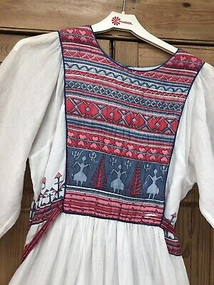 Phool Vintage Dress block print White Indian Cotton M Rare Hippy Boho 70/80's