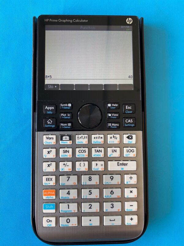 (1) HP Prime Graphing Calculator G8X92AA with charging cord and outlet adapter