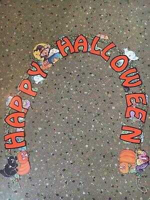 Vintage Paper Halloween Amscan Garland Banner 6' Decoration Ghost Witch Pumpkin