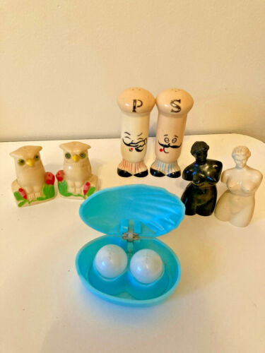 NAPCO Salt & Pepper Shakers Vtg Clam Shell Chef Owl Naked Ladies Lot 4 Celluloid