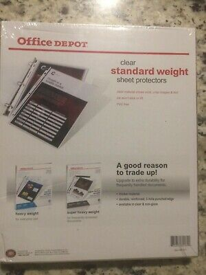 Office Depot Clear Standard Weight Sheet Protectors 100 Ct