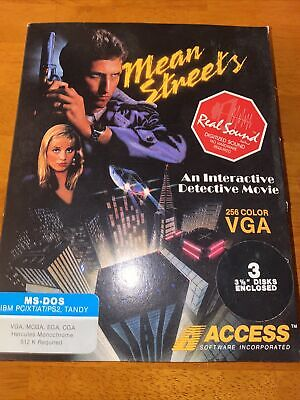 """Mean Streets PC MS-DOS Game 3.5"""" disk with manual"""