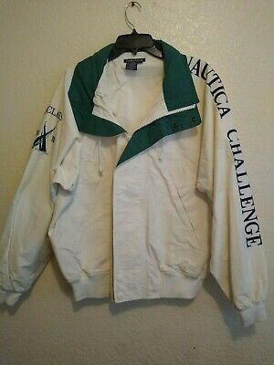 Vintage Nautica Challenge J-Class White Embroidered Jacket Sz XL