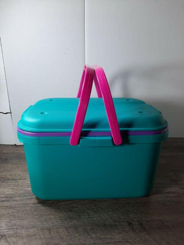 VTG EAGLE Sewing Craft Case Organizer Box Tote Aqua Turquoise Purple USA MADE