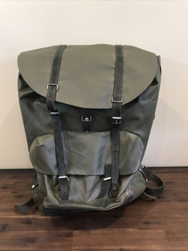 Swiss Army Military Waterproof Leather Canvas Backpack Rucksack Vintage