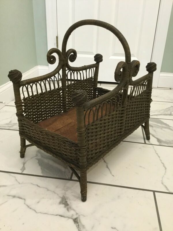 Rare Antique Victorian Wicker Heywood Wakefield Canterbury