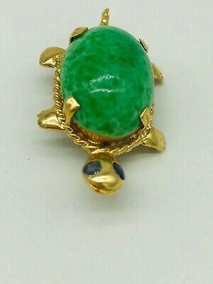 Vintage Jade & Sapphire Turtle Brooch - 14K Yellow Gold Gold Jade Brooch