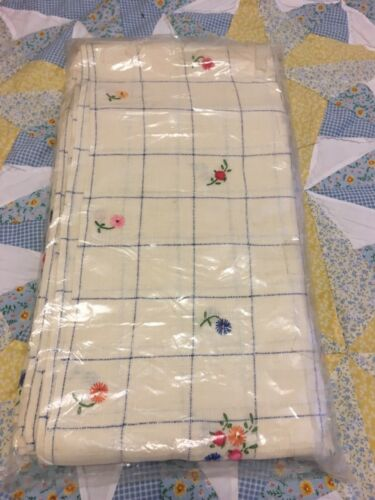 Antique Hand embroidered flower tablecloth with matching six napkins