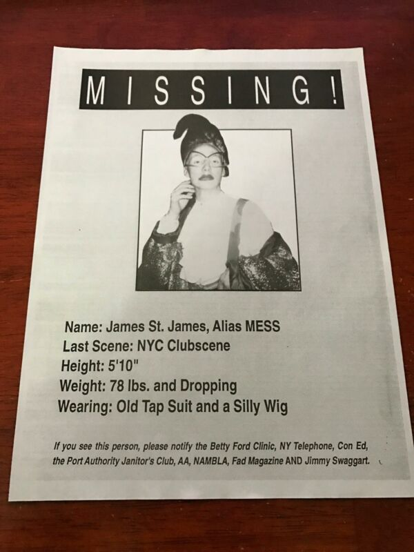 1992 VINTAGE 8X11 MAGAZINE CLIPPING NYC CLUBKID MISSING JAMES ST JAMES LIMELIGHT