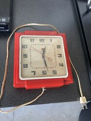 Vintage Telechron Electric Wall Clock, Red. WORKS!!