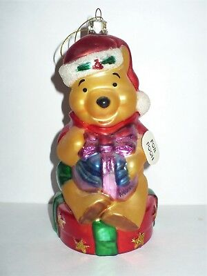 DISNEY CHRISTMAS POOH WITH HUNNY POT GIFTS GLASS SANTA'S BEST TREE ORNAMENT VGC