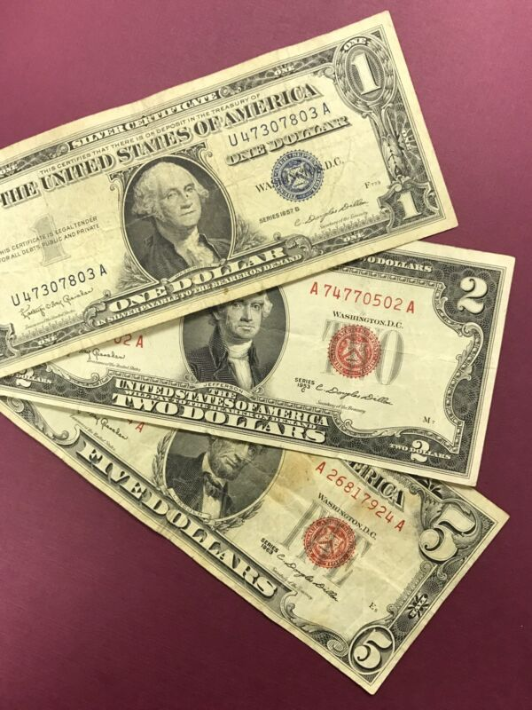 3 Note Paper Money Collection $5, $2, & $1 Red Seal Blue Seals