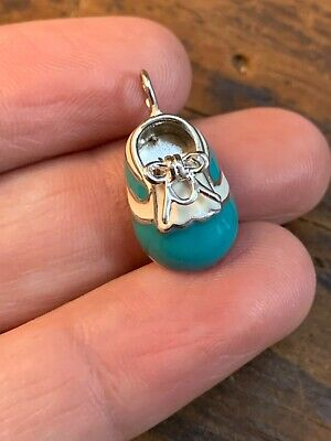 Sterling Silver Blue Enamel Baby Boy Shoe Charm Pendant Male Gender Reveal