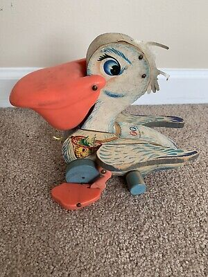 Vintage 1961 Fisher-Price #794 Big Bill Pelican Wooden Pull Toy