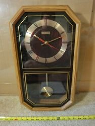 Rare! Vintage Linden wooden battery operated pendulum wall clock. Works! Nice!