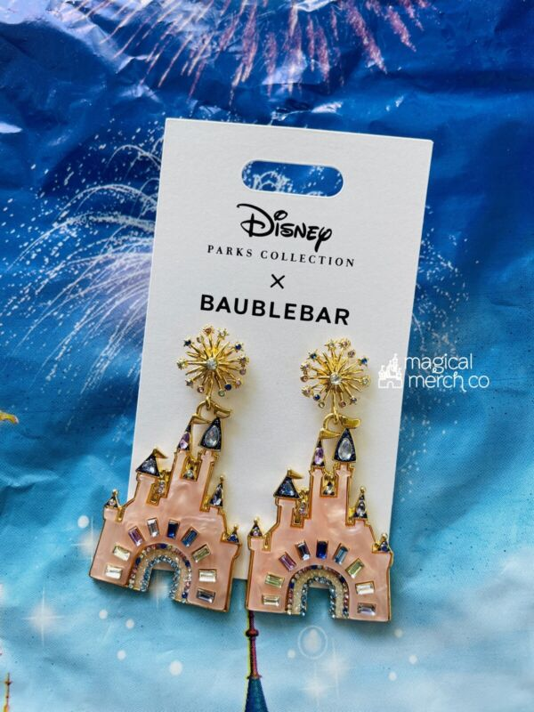 2021 Disney Parks 50th Celebration Cinderella Castle Earrings by BaubleBar NEW