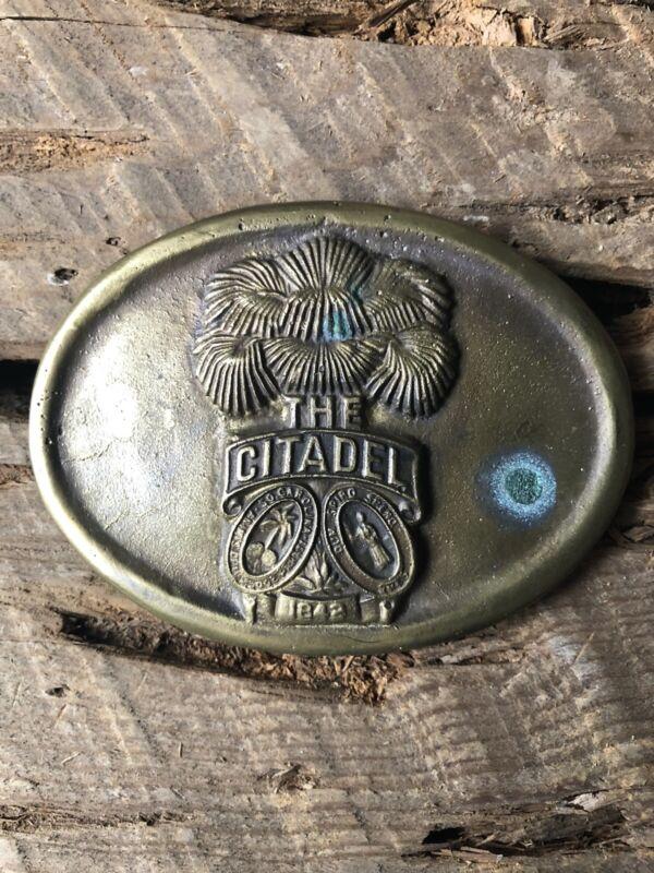 Vintage South Carolina The Citadel Unmarked Solid Brass Belt Buckle
