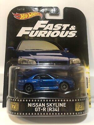 Hot Wheels Fast and Furious Retro Entertainment Nissan Skyline GT-R (R34)**VHTF!