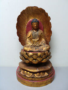 LARGE-ANTIQUE-CHINESE-HAND-CARVED-WOOD-GILT-DECORATED-BUDDHA-FIGURE-SHRINE