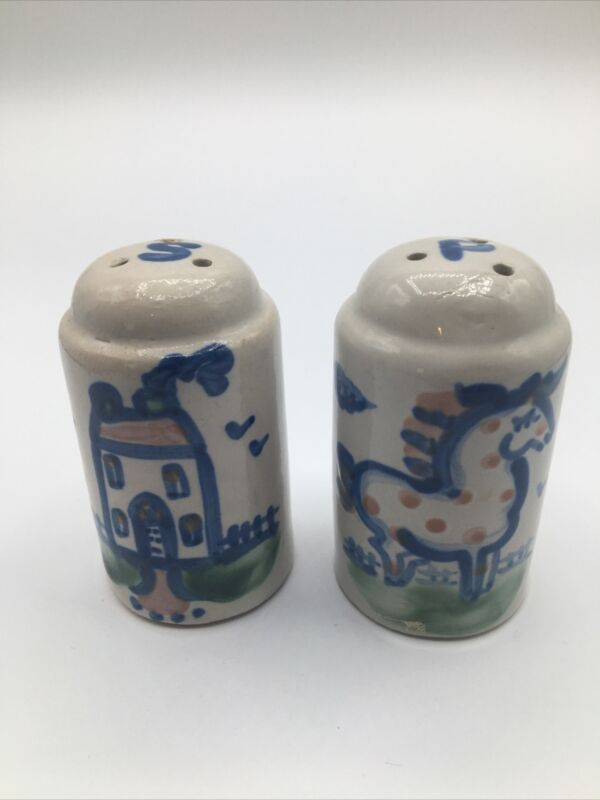 M. A. Hadley Pottery Salt And Pepper Shakers Horse House Country Pattern KY