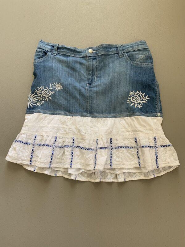 Motherhood Maternity Denim Skirt M Size Embroidered Ruffled Laced Light Wash