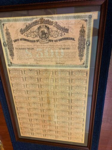 CONFEDERATE $500 EQUESTRIAN BOND, FULL COUPONS - FRAMED, EXC COND FREE SHIP!